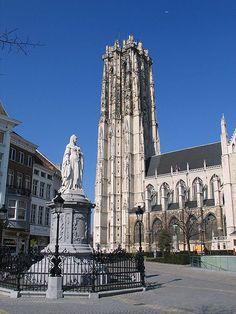 Sint-Romboutscathedral in Mechelen, Belgium (statue in front of photo represents Margaretha of Austria)