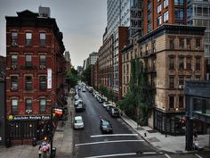 This is the view of 17th St. as you look east standing on the High Line in Chelsea, Manhattan, NYC.