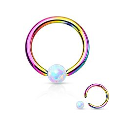 Fire Opal White Captive Hoop Rainbow Cartilage Tragus Body Jewelry Helix Piercing Jewelry - BodyDazzle (also Daith) Bijoux Piercing Septum, Septum Piercing Jewelry, Eyebrow Jewelry, Body Piercings, Cartilage Earrings, Lip Piercing, Tiffany Jewelry, Tapers And Plugs, Conch
