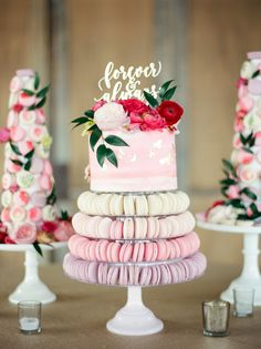 Macarron Tower and Cake by Buttercup Bakery Flowers by Flower Vibes Photos by Dana Fernandez Deborah & Elton's flower filled wedding day at The Chandelier Grove on March 18th 2017! Hot pink, coral, pops of red, blush, and gold toned flowers for a floral-inspired barn wedding! #flowervibes #flowervibesbride #bride #bridetribe #grromstyle #barnwedding #hotpink #flowers #weddingflowers