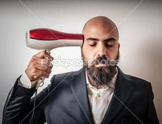 man bearded and jacket with hairdraier and funny expressions — Foto Stock #13177013 $200