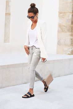 grey jeans + white blazer + top knot