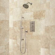 Isola Thermostatic Shower System with Wall Shower - Modern Handshower - Brushed Nickel 459.95 Signiture Hardware