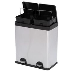 Step N' Sort 16 gal. 3 Compartment Stainless Steel Trash and Recycling - The Home Depot Trash And Recycling Bin, Trash Bins, Recycling Storage, Arlo Tattoo, Home Depot, Kitchen Trash Cans, Waste Container, Beautiful Home Designs, Garbage Can