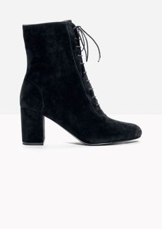 & Other Stories image 1 of Lace Up Suede Boots  in Black