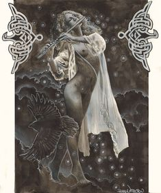 Pagan Goddess Art  The Morrighan  Nude Art  by PearlWhitecrow,