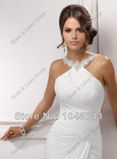 Free Shipping 2014 New Arrival Custom Made Sheath Pleated Front Slit Chiffon Sexy Beach Wedding Dresses Wedding Gown US $100.10
