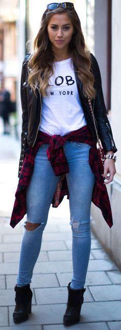 Leather Jacket + T-shirt + Jeans + Plaid Shirt