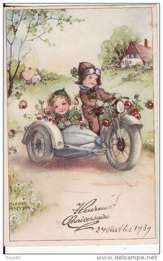 Carte Postale Fantaisie Heureux Anniversaire MOTO-SIDE CAR-MOTOCYCLETTE-ILLUSTRATEUR-DESSIN Signé Hannes Petersen