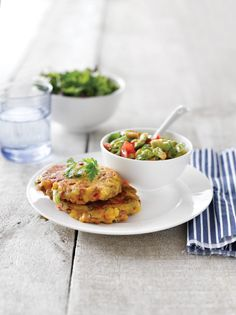 Lentil and corn fritters with tomato and avocado salsa | Healthy Food Guide
