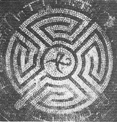 The Roman labyrinth, which as the first was constructed with two meanders, dates from around 250 AD and is found on a circular mosaic labyrinth in Avenches (Aventicum) in Switzerland. (Source: Hermann Kern, Labyrinthe, p. Man In The Maze, Element Symbols, Four Arms, Geometry Pattern, Distinguish Between, Celtic Symbols, Blue Rings, Logo Inspiration, Roman