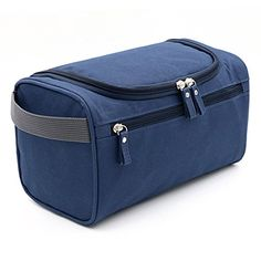 Hipiwe Hanging Travel Toiletry Bag Travel Size Toiletries Waterproof Shaving Dopp Kit for Mens Business Handbag with Durable Zipper / Hanging Design / Large Capacity (Dark Blue)