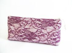 Magenta Purple Lace Wedding Clutch Bridesmaid Gift by PersaBags