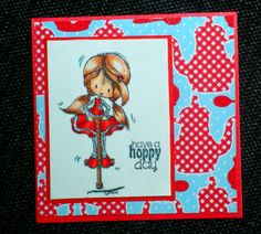 Made by Maroeska - Card with a clear stamp from Tiddly Inks. Stamped on stamp linnen, colored with copics.