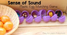 Preschoolers use their sense of hearing to play this Sound Matching Game at the science center. Shake an egg and find the other one that sounds the same! Science Center Preschool, Five Senses Preschool, 5 Senses Activities, Preschool Science, Science Experiments Kids, Science For Kids, Science Activities, Science Centers, Summer Science