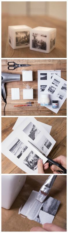 How to print photos on a candle Homemade Candles, Diy Candles, Homemade Gifts, Diy Gifts, Candle Centerpieces, Xmas Gifts, Craft Gifts, Photo Craft, Diy Photo