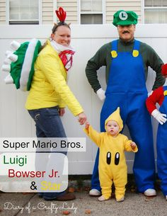 This is great inspiration. The Bowser shell is made from felt and cups. I just need a yellow shirt. Make the cute star costume for baby and keep him warm too.