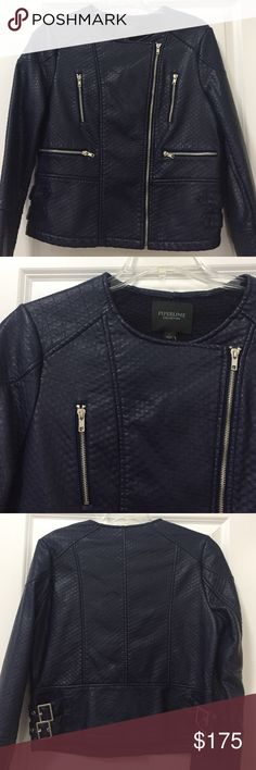 HOT!!! Blue Faux leather Biker Jacket New!!!! Blue Piperlime Collection Faux Leather Jacket.... Quality material.. Feels and looks like leather! The lining of the jacket is a cotton knit which adds to the quality of the jacket. Piperlime Jackets & Coats