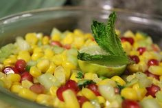 Spring fresh salad! Corn, cucumber and beautiful Pomogrenate pearls