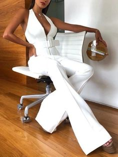 White Sexy Sleeveless Deep V Neck Wide Leg Halter Jumpsuits Backless Jumpsuit, Jumpsuit Outfit, White Jumpsuit, Casual Jumpsuit, Elegant Jumpsuit, Long Jumpsuits, Jumpsuits For Women, White Women, Ladies White