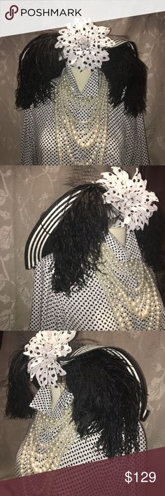 Derby Black n white w/ polka dot custom made Hat Custom made Derby sinamay hat. Black with white stripes. Polka dot silk flower with black mesh and black super soft feathers. This hat is truly unique and one of a kind. Nobody will have this hat at any event. Can be worn day or night events. Accessories Hats