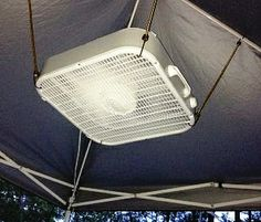 Keep a nice cool breeze on you while you're sleeping by strapping a box fan to the top of your tent with bungee cords. Definitely an idea I want to use!!!  #TheMultiMom #camping #campingtip #campigntrick #campingidea #campingtips #campingtricks #campingideas #fan #keepcool #kicktheheat #staycool #bungee #bungeecord #bungeecords #fans #tent #tents #cooloff #coolingoff