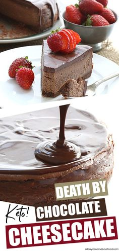 don't say this lightly, but this is the BEST EVER keto chocolate cheesecake. Rich, dreamy, and oh so chocolatey. A chocolate crust with creamy chocolate cheesecake and a sugar-free chocolate ganache topping. Low carb never tasted so good! Low Carb Cheesecake Recipe, Chocolate Cheesecake Recipes, Simple Cheesecake, Sugar Free Cheesecake, Cheesecake Cupcakes, Cheesecake Brownies, Low Carb Desserts, Low Carb Recipes, Dessert Recipes
