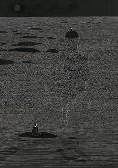 Daehyun Kim, 수월관음도(水月觀音圖), The Moon I See, February 2013. Drawing for Juxtapoz Magazine, March 2013 Issue