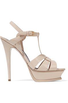 SAINT LAURENT Classic Tribute 75 patent-leather sandals. #saintlaurent #shoes #sandals