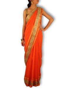 Orange gold georgette saree with golden cutwork and stone border - Sweta Sutariya - 1