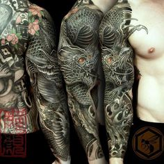 Full Sleeve Tattoo Is Completed With A Black Dragon Representing intended for proportions 1080 X 1080 Tattoo Dragon Sleeve - The tattoo designs mentioned Dragon Tattoos For Men, Dragon Sleeve Tattoos, Japanese Sleeve Tattoos, Dragon Tattoo Designs, Best Sleeve Tattoos, Tattoo Designs Men, Tattoos For Guys, Tattoo Sleeves, Tattoo Japanese