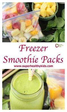 Freezer Smoothie Packs. Just add water or milk to these make ahead freezer smoothie packs for a quick, delicious, and nutritious breakfast or snack anytime! www.superhealthykids.com/freezer-smoothie-packs