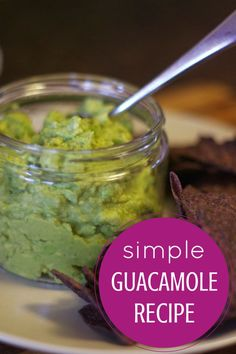 This simple guacamole recipe is good! Only four ingredients!