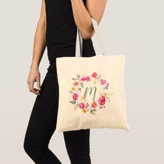 Monogram Watercolor Roses Bag - monogram gifts unique design style monogrammed diy cyo customize