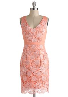 $92.99 Peaches and Gleam Dress - Pink, Solid, Crochet, Lace, Vintage Inspired, Sheath / Shift, Sleeveless, Spring, Mid-length, Cutout, Daytime Party, Coral
