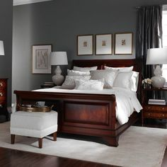 Bedroom Decor With Dark Furniture bedroom decorating ideas dark wood sleigh bed bedroom decoration