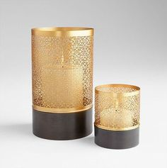 Candle Holders | Grecian Lace Gold & Ebony Candle Holder Set