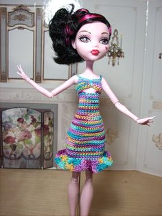 fun and sexy dress for Monster High girls by ShortcutsCrochet