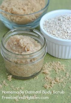 Homemade Oatmeal Body Scrub - This homemade body scrub makes great DIY gifts for moms, teachers, babysitters or yourself! Pinned over 5,700 times.