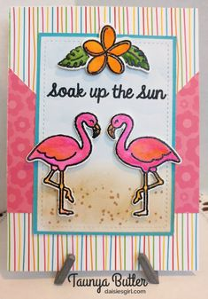 Sunny Studio Stamps: Tropical Paradise Flamingo Card by Taunya Butler