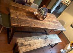 Belle table à la main, fabriqué à partir de bois récupéré et robuste en acier Tableau uniquement – correspondance bancs disponibles à partir de £115 • Top fabriqué à partir de 2 ½ épais en bois massif • Section de la boîte en acier solide base pour garder les robuste et solide • Le
