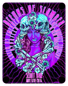 Oceans of Slumber at The Scout Bar, Houston TX. Screen Printed Poster