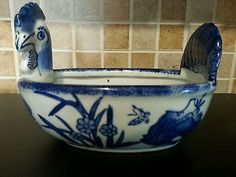Vintage Japanese Cobalt Blue White Porcelain Planter Bowl