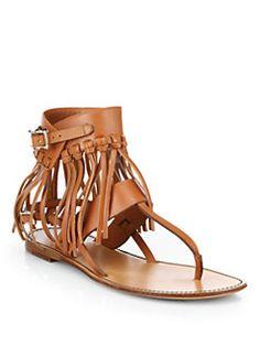 Valentino - C-Rockee Leather Fringe Thong Sandals