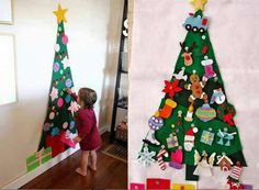 Met vilt en klittenband Xmas, Christmas, Advent Calendar, Holiday Decor, Type 3, Babys, Home Decor, Facebook, Photos