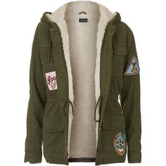 TopShop Badged Hooded Jacket ($93) ❤ liked on Polyvore featuring outerwear, jackets, tops, coats & jackets, coats, khaki, khaki jacket, khaki hooded jacket, cotton jacket and brown jacket