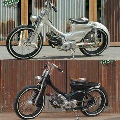 Waktu ke waktu Blackecot #choppycub Bobber Motorcycle, Motorcycle Style, Motorcycle Outfit, Honda Bikes, Honda Motorcycles, Cars And Motorcycles, Custom Moped, Custom Bikes, Bike Gadgets