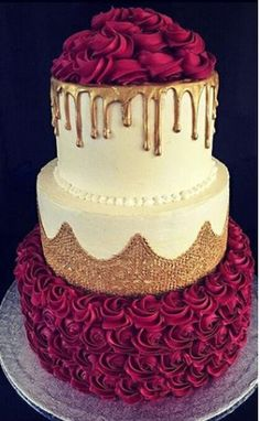 wedding cakes ideas Gold, red, and cream cake decorating - - Pretty Cakes, Cute Cakes, Beautiful Cakes, Amazing Cakes, Beautiful Flowers, Cake Cookies, Cupcake Cakes, Birthday Cake Decorating, Cake Birthday
