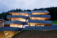 """International architecture and design practice Plasma Studio have recently completed the """"Dolomitenblick"""", a daring geometric shape building located on a hillside in the Dolomites Cabinet D Architecture, Architecture Awards, Modern Architecture House, Futuristic Architecture, Interior Architecture, Architecture Geometric, Scandinavian Architecture, Italy Architecture, Hotel Montmartre"""
