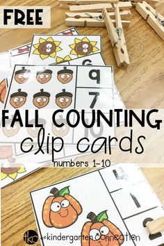 FREE Printable Fall Counting Clip Cards for kindergarten! Perfect for your math center this fall! - Kids education and learning acts Fall Preschool Activities, Free Preschool, Preschool Printables, Preschool Lessons, Preschool Crafts, Free Printables, Fractions, Math Multiplication, Math Math